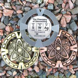 SWAg - The Chemistry of Geocaching Geomedal Geocoin 3 Finish Set