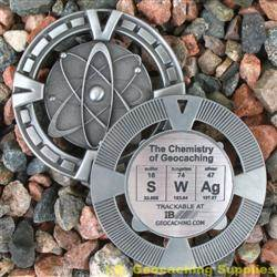 SWAg - The Chemistry of Geocaching - Antique Silver Geomedal Geocoin