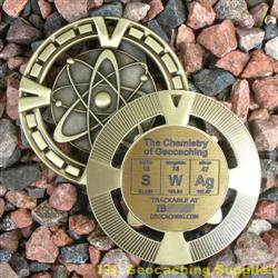 SWAg - The Chemistry of Geocaching - Antique Gold Geomedal Geocoin
