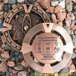 SWAg - The Chemistry of Geocaching - Antique Bronze Geomedal Geocoin