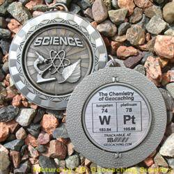 WPt - The Chemistry of Geocaching - Antique Silver Spinning Geomedal Geocoin