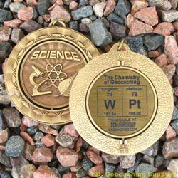 WPt - The Chemistry of Geocaching - Antique Gold Spinning Geomedal Geocoin