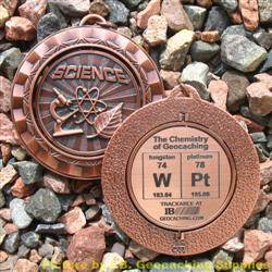 WPt - The Chemistry of Geocaching - Antique Bronze Spinning Geomedal Geocoin