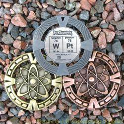 WPt - The Chemistry of Geocaching Geomedal Geocoin 3 Finish Set