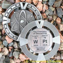 WPt - The Chemistry of Geocaching - Antique Silver Geomedal Geocoin