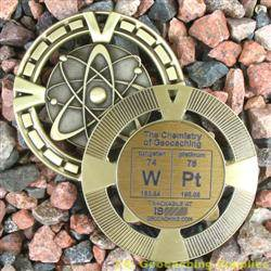 WPt - The Chemistry of Geocaching - Antique Gold Geomedal Geocoin