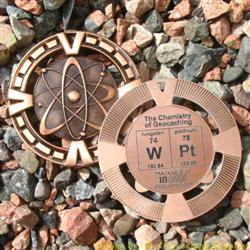 WPt - The Chemistry of Geocaching - Antique Bronze Geomedal Geocoin