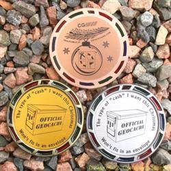 Christmas Cache Geomedal Geocoin Trio with Translucent Colours