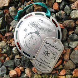 Christmas Cache Geomedal Geocoin with Translucent Colours + Copy Tag