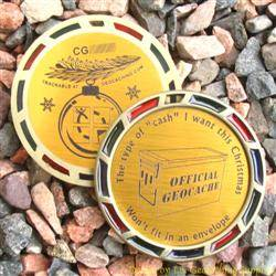 Christmas Cache Geomedal Geocoin with Translucent Colours