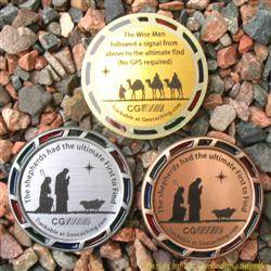 The Christmas Shepherds and Magi Geomedal Geocoin Trio with Translucent Colours