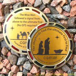 The Christmas Shepherds and Magi Geomedal Geocoin with Translucent Colours