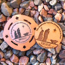 Christmas Shepherds - Trackable Geomedal / Wooden Nickel Pair