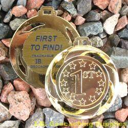 FTF (First to Find) Small Geomedal Geocoin with Cutouts