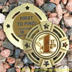 FTF (First to Find) Small Geomedal Geocoin with Star Cutouts
