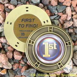 FTF (First to Find) Colour Geomedal Geocoin with Cutouts