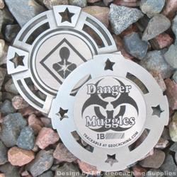 Danger Muggles - Small Antique Silver Geomedal Geocoin with Star Cutouts