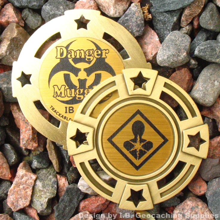 Danger Trackable Geomedal Geocoin Ant. Silver Colour Muggles
