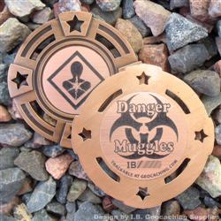 Danger Muggles - Small Antique Bronze Geomedal Geocoin with Star Cutouts