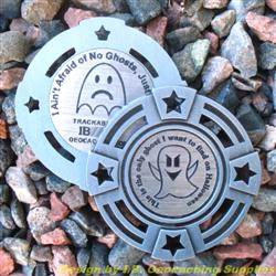 I Ain't Afraid of No Ghosts - Small Antique Silver Geomedal Geocoin with Star Cutouts