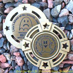 I Ain't Afraid of No Ghosts - Small Antique Gold Geomedal Geocoin with Star Cutouts