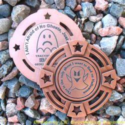 I Ain't Afraid of No Ghosts - Small Antique Bronze Geomedal Geocoin with Star Cutouts