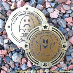 I Ain't Afraid of No Ghosts - Large Antique Gold Geomedal Geocoin with Star Cutouts