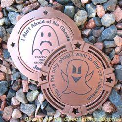 I Ain't Afraid of No Ghosts - Large Antique Bronze Geomedal Geocoin with Star Cutouts