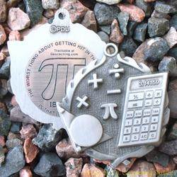 Pi Day - Pi in the Face Antique Silver Geomedal Geocoin