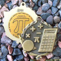 Pi Day - Pi in the Face Antique Gold Geomedal Geocoin