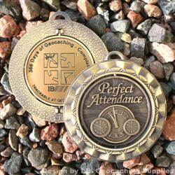 366 Days of Geocaching - Antique Gold Spinning Geomedal Geocoin
