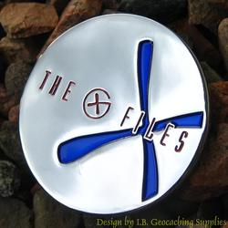 The G-Files - Chrome Geocoin with Blue X