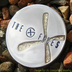 The G-Files - Chrome Geocoin with White Glitter