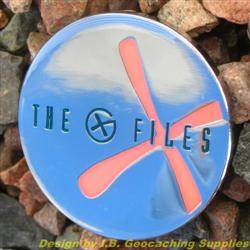 The G-Files - Chrome Geocoin with Red Glow