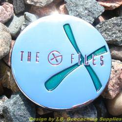 The G-Files - Chrome Geocoin with Green X