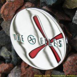 The G-Files - Chrome Geocoin with Red X