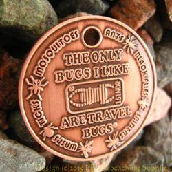 I Like Travel Bugs Geocoin - Antique Copper Version