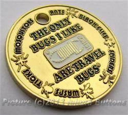 I Like Travel Bugs Geocoin - Brass SE Version