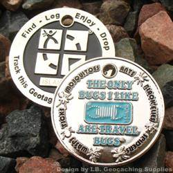 I Like Travel Bugs Geocoin - Nickel Blue Double Glow Version