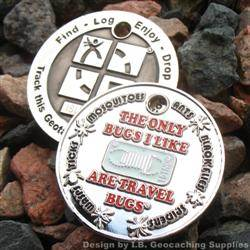 I Like Travel Bugs Geocoin - Nickel Red, White Glow Version