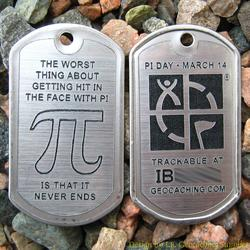 Pi Day Trackable Trackable Dog Tag