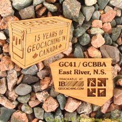 15 Years of Geocaching Ammo Can - 2-Sided Trackable Wooden Nickel