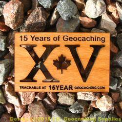 15 Years of Geocaching Cutout - 1-Sided Trackable Wooden Nickel