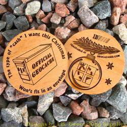 Christmas Cache - 2-Sided Trackable Wooden Nickel