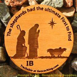 Christmas Shepherds - 1-Sided Trackable Wooden Nickel