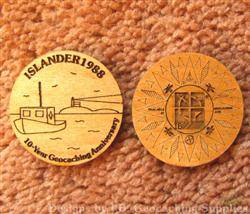 Islander1988 10 Years of Geocaching - 2-Sided Trackable Wooden Nickel
