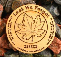 Lest We Forget - 1-Sided Trackable Wooden Nickel